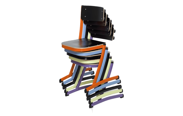 chaise scolaire empilable, qui se pose sur table et multi position