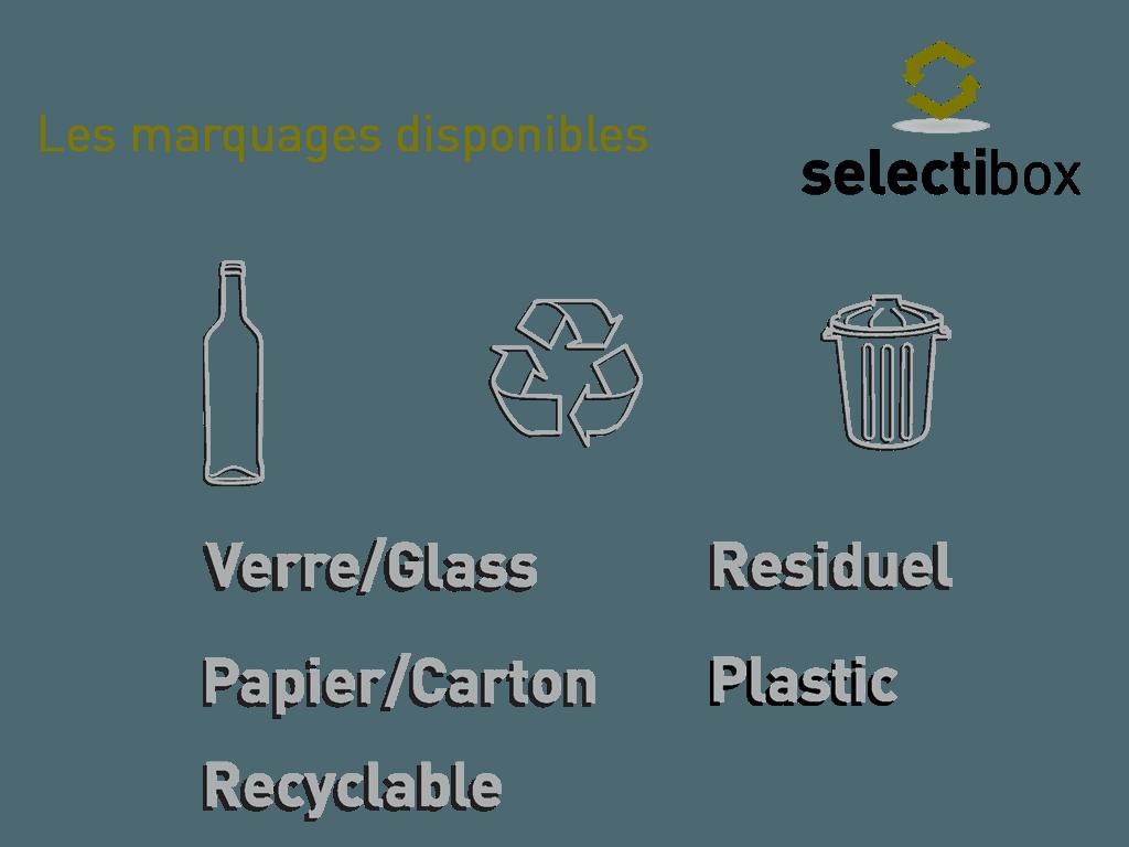 poubelles selectibox marquage