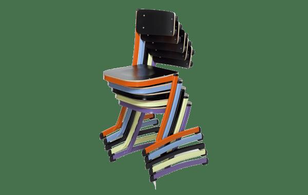chaise scolaire empilable, qui se pose sur table et multi position