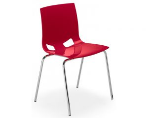 Chaise design rouge, disponible en nombreuses coloris