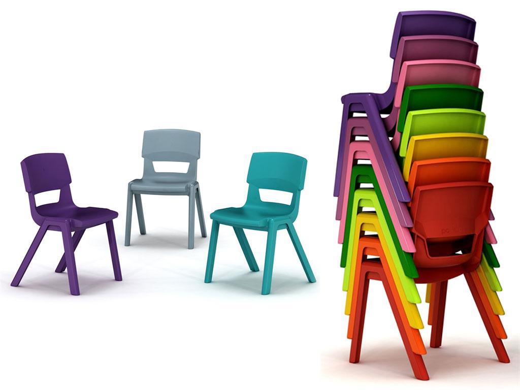 chaises scolaires colorées et design