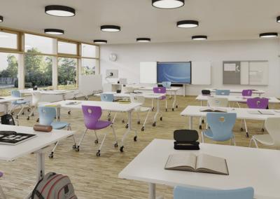 Chaise flexible Panto luge ergonomique avec 2 pieds parfaite pour les salles de classe
