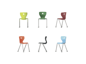 Chaise ergonomique Compass 4 pieds avec embouts pour une classe colorée - IA France