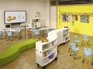 Pupitre d'enseignant IA France pour classe dynamique et flexible