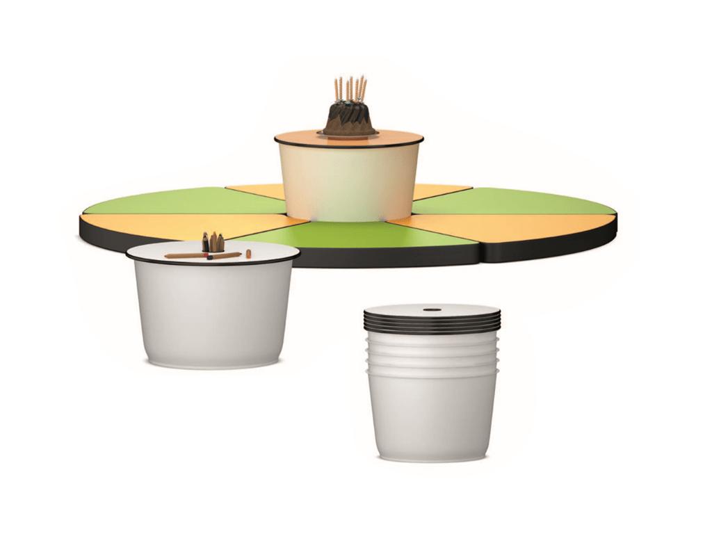 Table cylindrique Gugl, avec rangement et empilable
