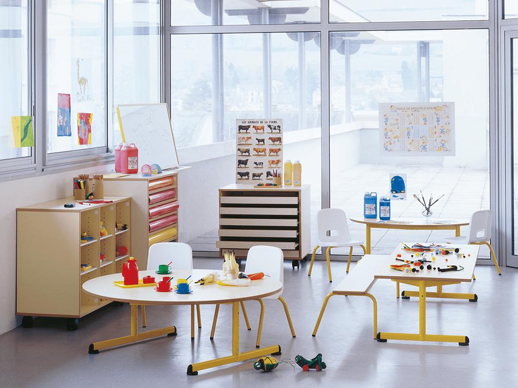 Table maternelle D120, une table ronde et fixe pour école maternelle