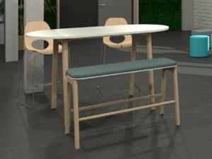 Banquette haute d'entreprise design, en bois massif avec assise confortable
