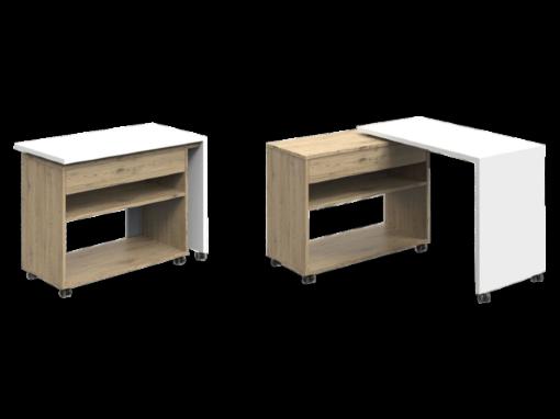 HOMERE, bureau modulable avec plateau coulissant et pivotant